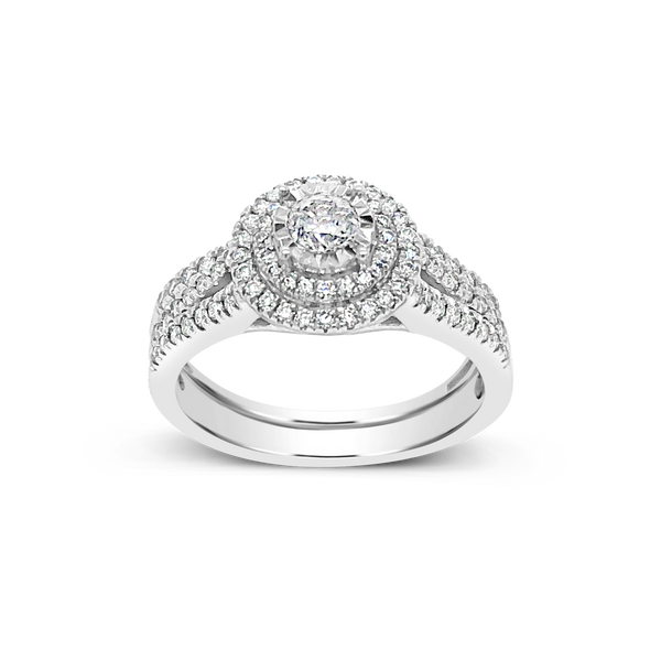 Diamond Halo Engagement Ring .75 CTW Round Cut 14K White Gold