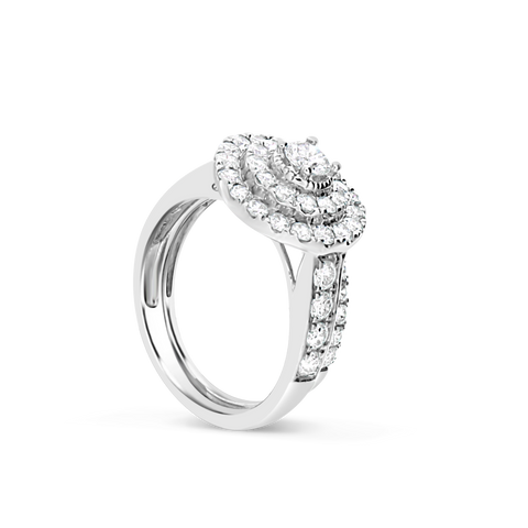 Diamond Halo Engagement Ring 1.75 CTW Round Cut 14K White Gold