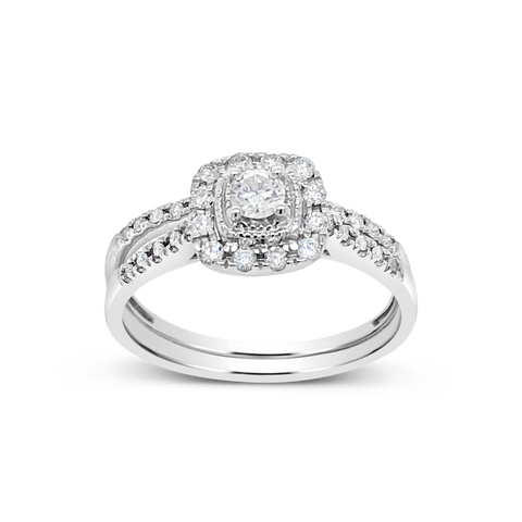 Diamond Halo Engagement Ring .44CT tw Round Cut 14K White Gold