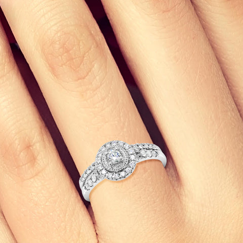 Diamond Halo Engagement Ring .34 CTW Round Cut 14K White Gold