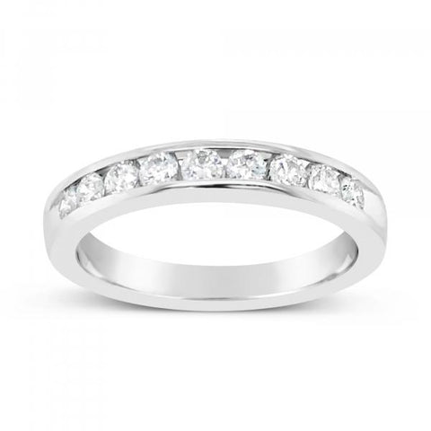 14K White Gold .52ct tw Round Cut Diamond Band