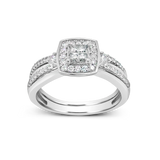 Diamond Halo Engagement Ring .47CT tw Princess Cut w/Round Cut 14K White Gold