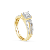 Diamond Engagement Ring .52CT tw Princess & Round Cut 14K Yellow Gold