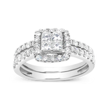 Diamond Halo Engagement Ring .93CT tw Princess w/ Round Cut 14K White Gold