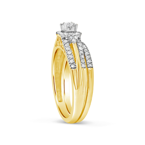 Diamond Halo Engagement Ring .40 CTW Round Cut 14K Yellow Gold