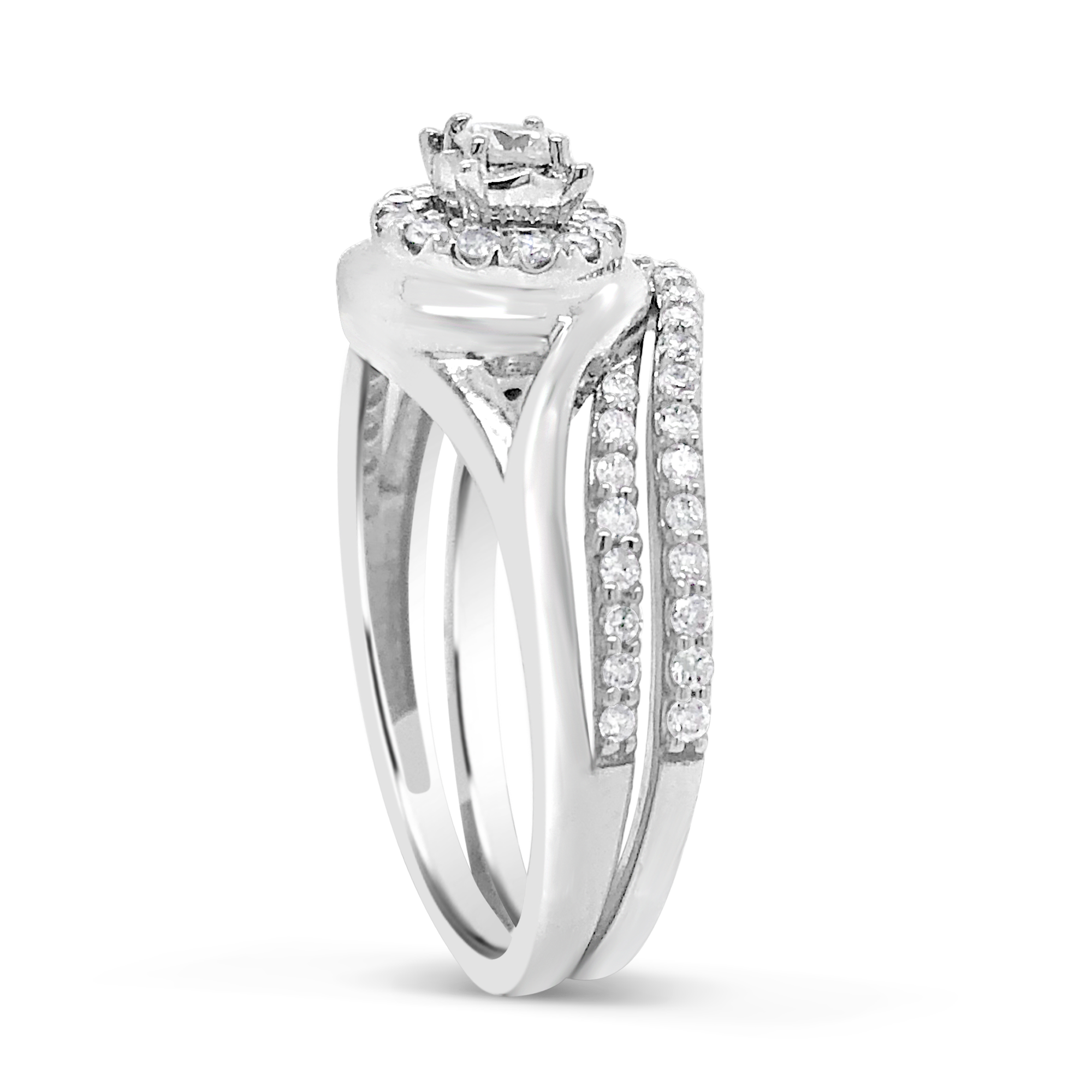 Diamond Halo Engagement Ring .50 CTW Round Cut 14K White Gold