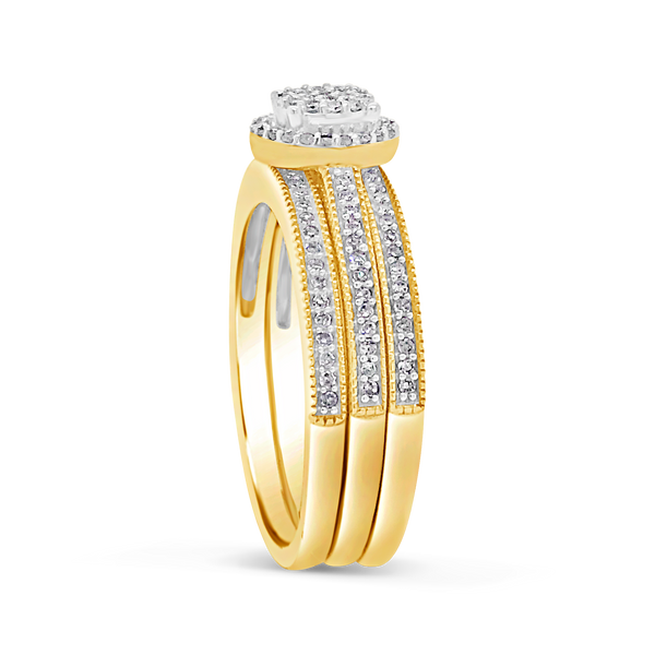 3 band Diamond Halo Engagement Ring .33CT tw Round Cut 10K Yellow Gold