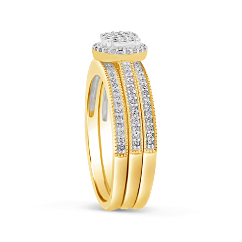 3 band Diamond Halo Engagement Ring .33 CTW Round Cut 10K Yellow Gold