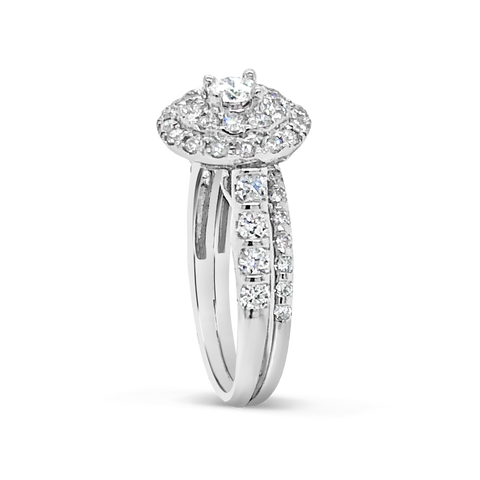 Diamond Halo Engagement Ring 1.18 CTW Round Cut 14K White Gold
