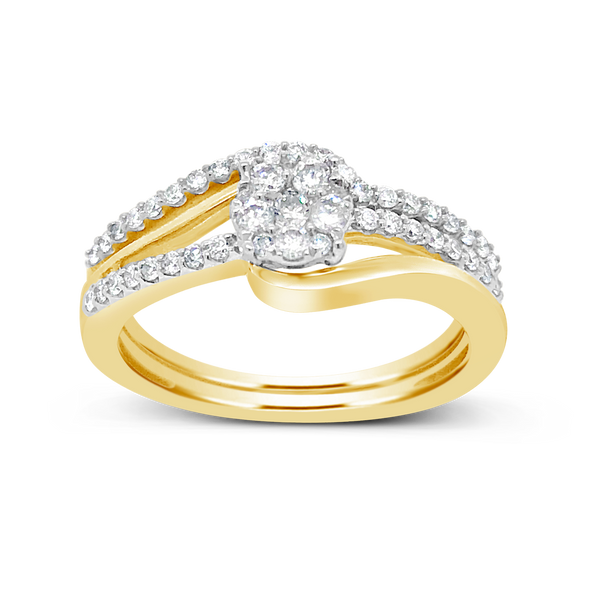 Diamond Halo Engagement Ring .37CT tw Round Cut 14K Yellow Gold