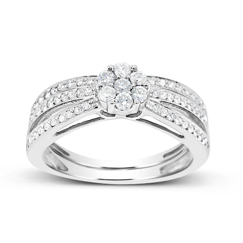 Diamond Halo Engagement Ring .40CT tw Round Cut 14K White Gold