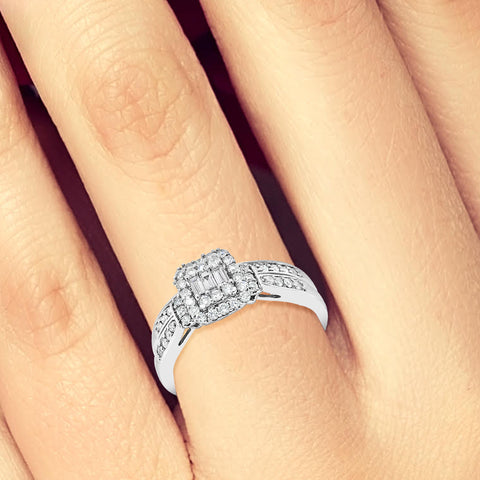 Diamond Engagement Ring .50 CTW 14K White Gold Bridal Set