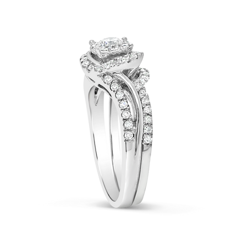 Diamond Halo Engagement Ring .55 CTW Round Cut 14K White Gold