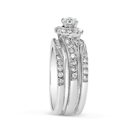 3 Band Diamond Halo Engagement Ring 1.30 CTW Round Cut 14K White Gold