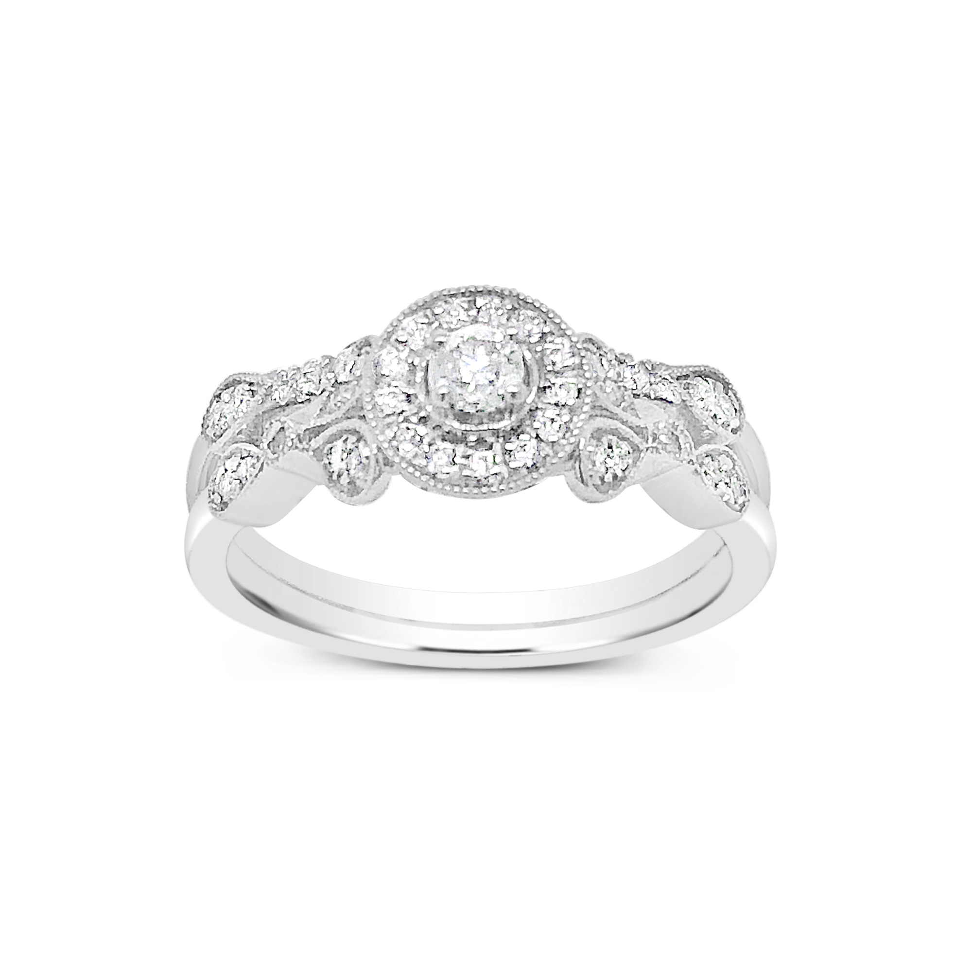 Diamond Halo Engagement Ring .33 CTW Round Cut 14K White Gold