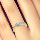 Diamond Halo Engagement Ring .33CT tw Round Cut 14K White Gold