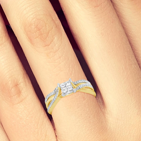 Diamond Engagement Ring .39 CTW Princess Cut w/Round Cut 14K Yellow Gold