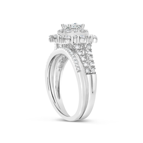 3 RING DIAMOND HALO ENGAGEMENT RING 1.50 CTW BAGUETTES W/ROUND CUT 14K WHITE GOLD
