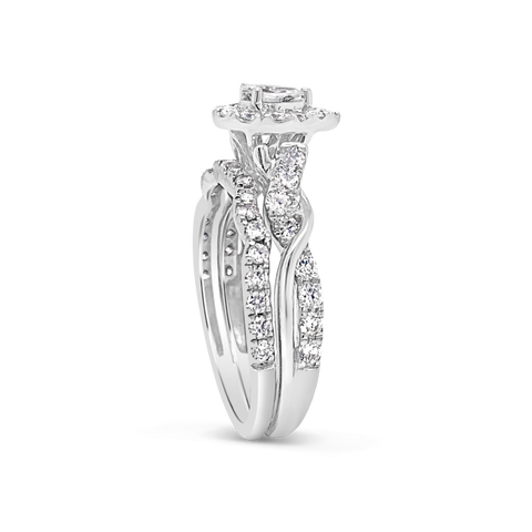 Pear Shaped Diamond Halo Engagement Ring .98 CTW Round Cut 14K White Gold