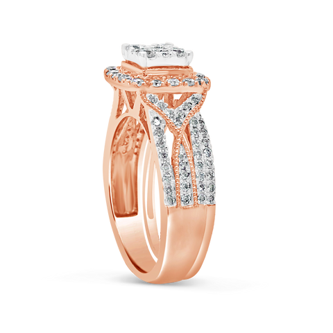 Diamond Halo Engagement Ring 1 CTW Round Cut 14K Rose Gold