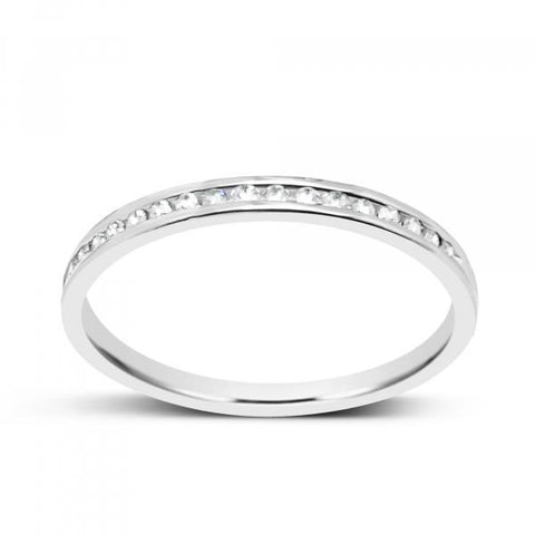 14K White Gold .10ct tw Round Cut Diamond Band