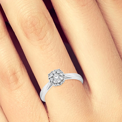Diamond Halo Engagement Ring.25 CTW Round Cut 14K White Gold
