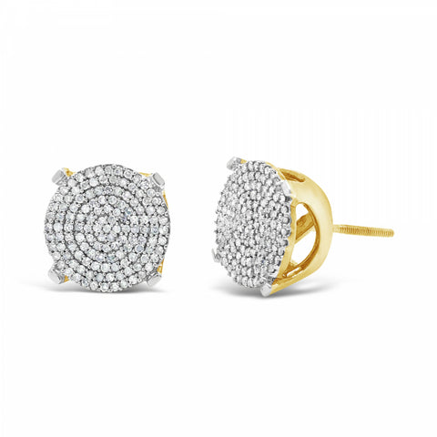 10K Yellow Gold .65ct Diamond Circle Earrings