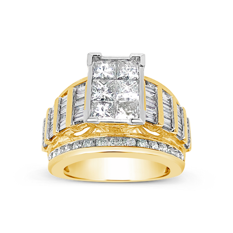 Diamond Ring 3CT tw Princess Cut w/ Baguettes & Round Cut 14K Yellow Gold