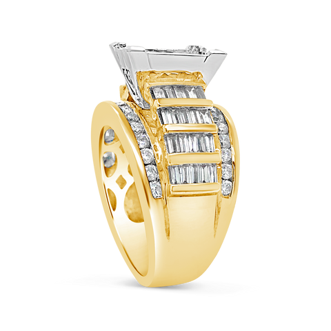 Diamond Ring 3 CTW Princess Cut w/ Baguettes & Round Cut 14K Yellow Gold
