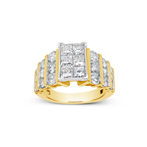 Diamond Halo Ring 3 CTW Princess Cut w/ Round Cut 14K Yellow Gold