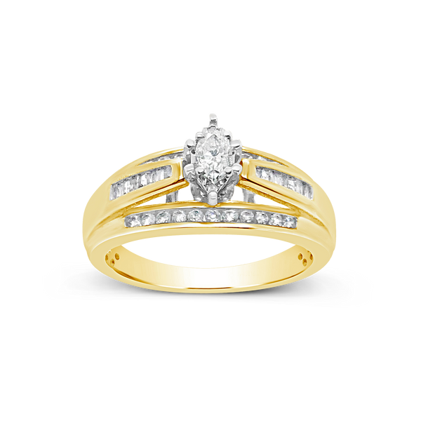 Diamond Engagement Ring .50CT tw Marquise Cut 10K Yellow Gold