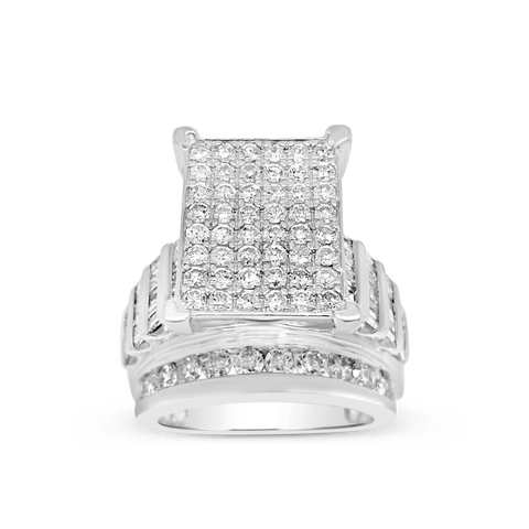 Diamond Ring 4.05CT tw Princess Cut w/ Baguettes & Round Cut 10K White Gold