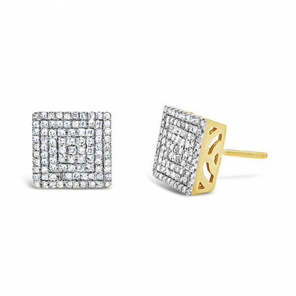 10K Yellow Gold .50ct Diamond Square Earrings