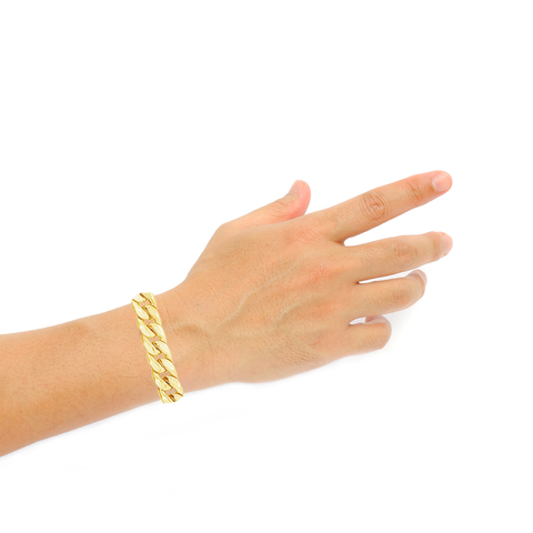 10K Yellow Gold Hollow Miami Cuban Bracelet