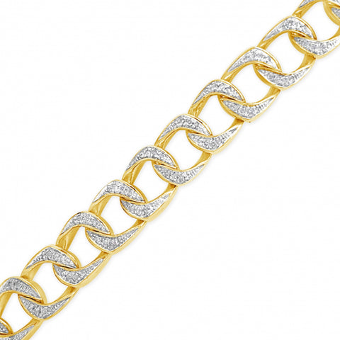 10K Solid Yellow Gold  Round Cut Diamond Cuban Link Chain