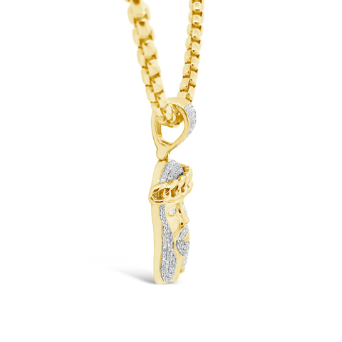 Diamond Jesus Pendant .45 CTW Round Cut 10K Yellow Gold