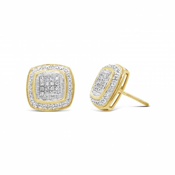 10K Yellow Gold .30ct Diamond Square Earrings w/ Gold Detail