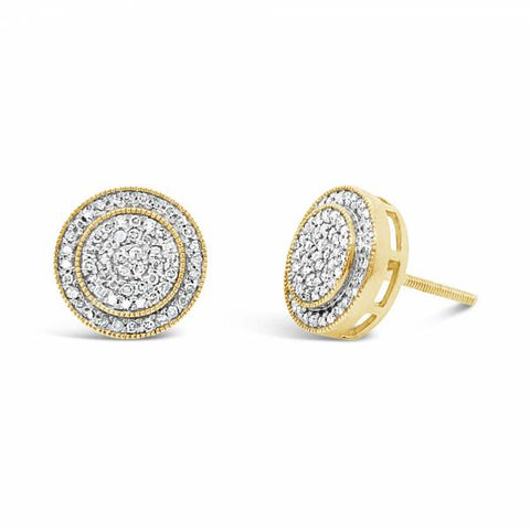 10K Yellow Gold .35ct Diamond Circle Earrings
