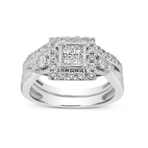 Diamond Halo Engagement Ring .75 CTW Princess Cut w/ Round Cut 14K White Gold