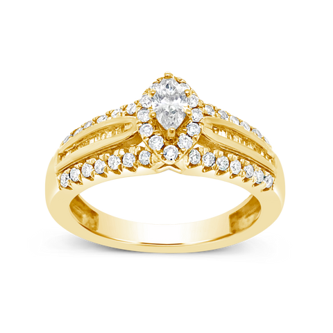 Diamond Halo Engagement Ring .75 CTW Marquise w/ Round and Baguette Cut 14K Yellow Gold