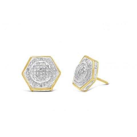 10K Yellow Gold .33ct Diamond 3D Hexagon Earrings