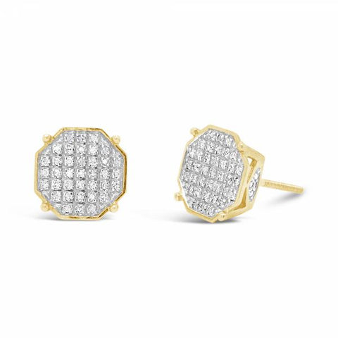 10K Yellow Gold .20ct Diamond Octogon Earrings