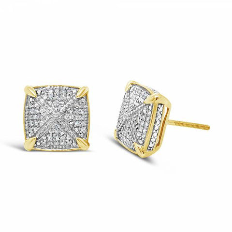 10K Yellow Gold .25ct Diamond 3D Square Earrings