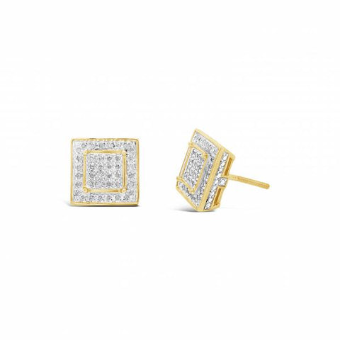 10K Yellow Gold 1.25ct Diamond Square Earrings