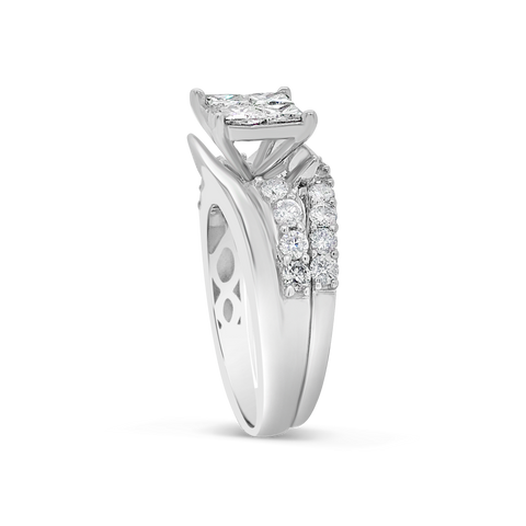 Diamond Ring 2 CTW Princess Cut w/ Round Cut 14K White Gold