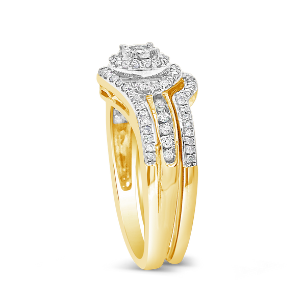 Diamond Halo Engagement Ring .33CT tw Round Cut 10K Yellow Gold