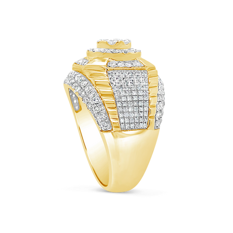 Diamond Ring 2 CTW Round Cut 10K Yellow Gold