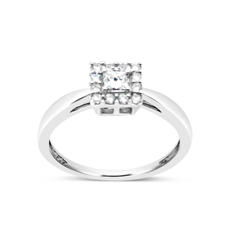 Diamond Halo Engagement Ring .25 CTW Princess w/ Round Cut 10K White Gold