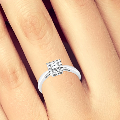 Diamond Halo Engagement Ring .25CT tw Princess w/ Round Cut 10K White Gold