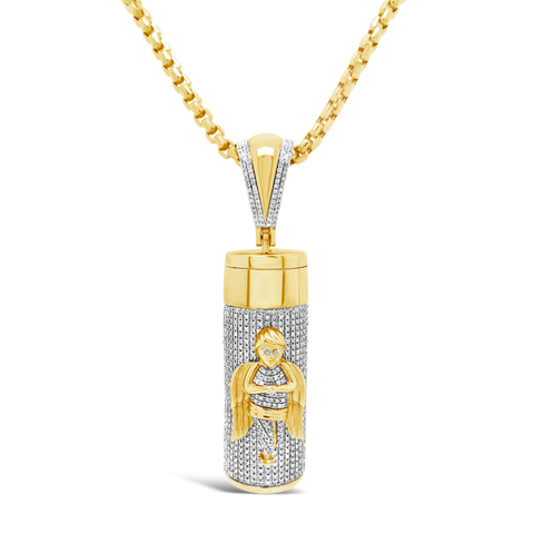 Diamond Urn Pendant 2.30 CTW Round Cut 10K Yellow Gold